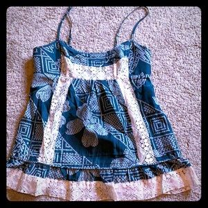 100% silk and lace baby doll top BCBG Maxazria